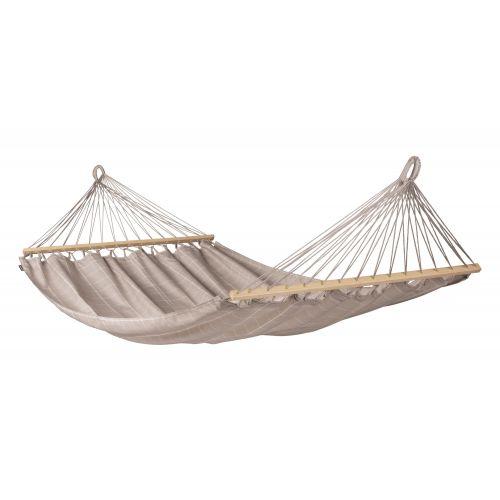 Alisio Almond - Vädertålig dubbel hängmatta med träkarmar