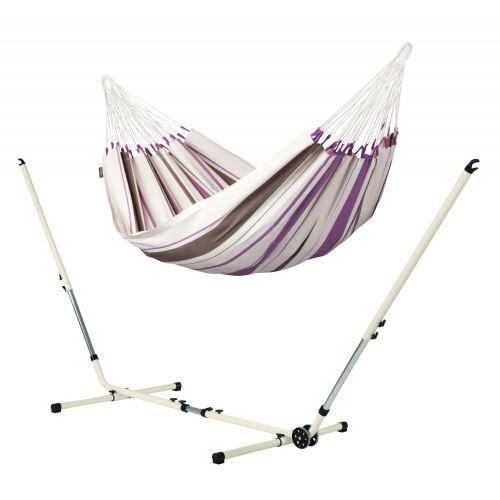 Caribeña Purple - Klassisk singel hängmatta med pulverlackerad stål-ställning