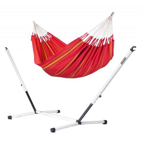 Currambera Cherry - Klassisk dubbel hängmatta med pulverlackerad stål-ställning