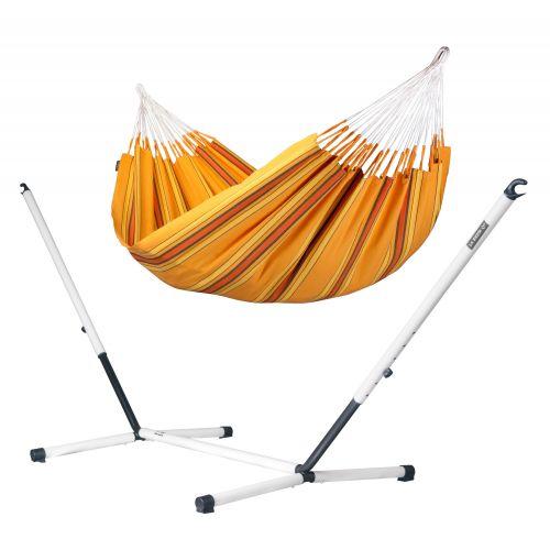Currambera Apricot - Klassisk dubbel hängmatta med pulverlackerad stål-ställning