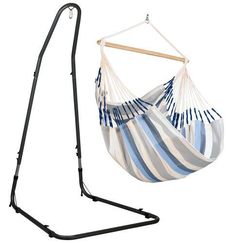 Domingo Sea Salt - Comfort hängstol med pulverlackerad stål-ställning