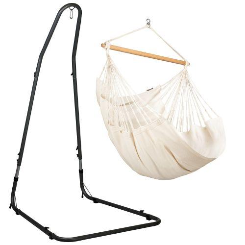 Habana Latte - Comfort hängstol med pulverlackerad stål-ställning