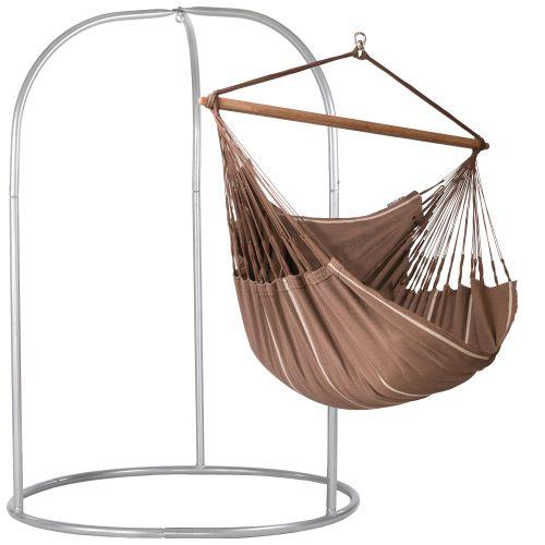 Habana Chocolate - Lounger hängstol med pulverlackerad stål-ställning