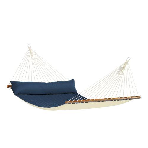 Alabama Navy Blue - Vadderad kingsize hängmatta med träkarmar
