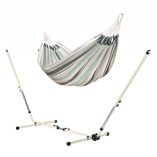 Paloma Olive - Klassisk dubbel hängmatta med pulverlackerad stål-ställning